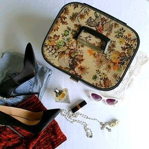 Vintage Tapestry Make Up Travel Case